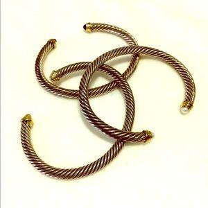 David Yurman Cable Bracelet width white pearl